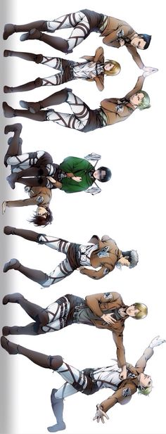 The special operations squad. Petra Ral, Gunther Schulz, Eld Jinn, and Oluo Bozado. Levi, Hanji Zoe, and Erwin.