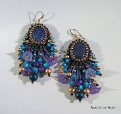 Bead embroidered earrings  Purple by JirikiDesigns on Etsy, €60.00