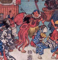 太田記念美術館 (広重の作品に、謎のタコの着ぐるみを着た男性が描かれていましたが、昭和の時代へも受け継がれていたようです)