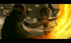 Korra vs Chiblocker by dCTb.deviantart.com  Love this artwork!!!