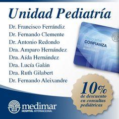 10% de descuento en consultas pediátricas con la Tarjeta Confianza. http://www.hospitalmedimar.com/confianza/