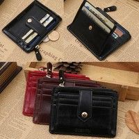 Wish | Fashion Man Casual Mini Leather Zipper Credit Card ID Holder Money Clip Wallet