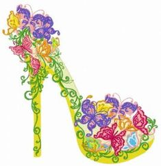 Girls and Women machine embroidery designs Machine Embroidery Applique, Free Machine Embroidery Designs, Applique Designs, Embroidery Ideas, Floral High Heels, Floral Shoes, Fashion Illustration Shoes, Cute Love Gif, Shoe Art