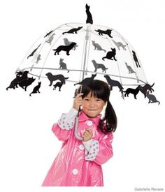 Raining Cats and Dogs Costume    All you need is: a child-size clear umbrella, black sticky felt (like Preto), black poster board, fabric pencil, gray thread, a needle    Drips are for kids! This clever idea is sure to be a hit in your neighborhood. Pair the decorated umbrella with the raincoat and rain boots your child already owns and she'll be set to have a blast in any weather.
