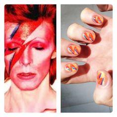 David Bowie Aladdin sane inspo nails by Wah girls Jess