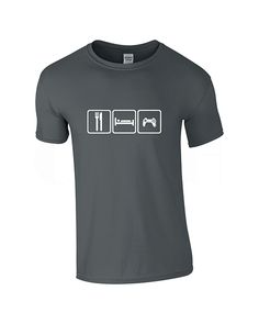 Mens Eat Sleep Game Charcoal T-shirt
