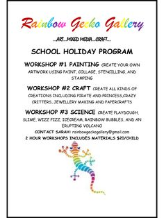 School Holiday Workshops..LIMITED SPACES...BOOK NOW! Please email for a detailed information leaflet... Rokeby, Tasmania.