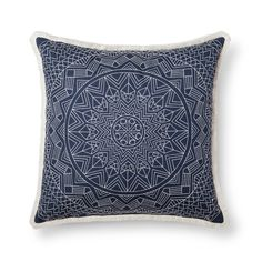 Bring a quick update to any room with the Blue Metallic Oversized Throw Pillow from Threshold™. This fun, embroidered decorative pillow has a detailed pattern and fringe trim, quickly freshening up any style. Put it on your bed or toss a pair of pillows on the couch to keep things fun.