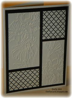 handmade card from FireFly's Cards ... one of her cards for Operation Write Home ... black and white ... mod block design ...  embossing folder flowers ... die cut trellis pattern ... like it!
