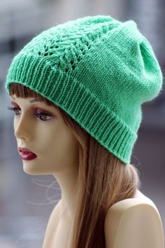 Vine Lace Hat Balls to the Walls Knits, A collection of free one- and two- skein knitting patterns