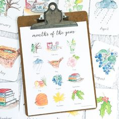Months of the Year Flashcards - Green Urban Mama Creative Autumn Activities, Fun Activities, Toddler Activities, April Rain, Latin Language, French Language, What Month, Snowy Trees, Print Fonts