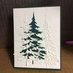 Tim Holtz tree die, Pearl spray mist on a simple winter card