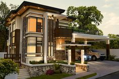 Alvarez Residence on Behance Village House Design, House Front Design, Philippines House Design, House Architecture Styles, House Plans Mansion, 2 Storey House Design, House Extension Design, Modern Bungalow House, Modern Villa Design