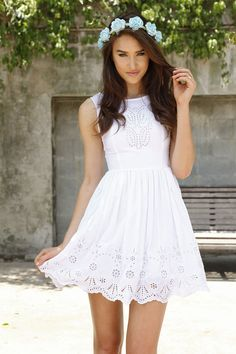 $52.00. Insanely cute white dress featuring cutout eyelet and ...