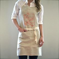 Cutlery Apron | $42. Here's a beautiful 100% linen chef's apron perfect for your own kitchen or as a unique household gift. Available at: manykitchens.com