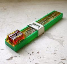 Remember these throwback pencil cases, w/the slide rulers & sharpener, from the 70's & 80's. Req'd school supplies back then! :)