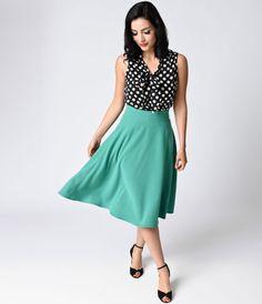 094914fc91d Unique Vintage Retro Style Green High Waist Vivien Swing Skirt Swing Skirt