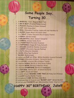 Some People Say, Turning 30... {Birthday Basket ~ Explanation}