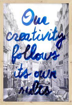 Kunstlijst Creativity - Blauw - Hout - HK Living