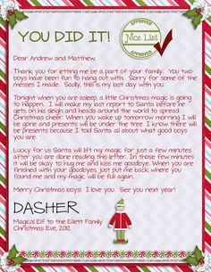 MJ-AJ Designs: Elf On The Shelf Adventures - Week Three - Goodbye letter