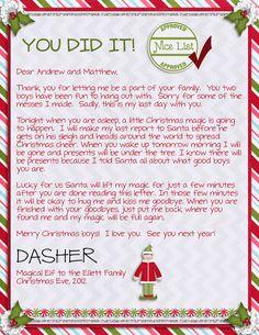 MJ-AJ Designs: Elf On The Shelf Adventures - Week Three - Goodbye letter