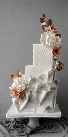 Amazing Wedding Cakes, White Wedding Cakes, Elegant Wedding Cakes, Wedding Cake Designs, Cake Wedding, Contemporary Wedding Cakes, Modern Cakes, Unique Cakes, Ruffle Cake