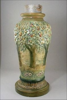 Lamp base is not a vase drilled for a lamp, actually manufactured for use as. Sold for on Jan 2004 Antique Pottery, Ceramic Pottery, Pottery Art, Leaded Glass Cabinets, Weller Pottery, Art Deco Lamps, Arts And Crafts Movement, Lamp Bases, American Art