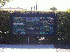 chalkboard wall art - red letter words?