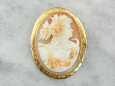 White Shell Cameo with Lovely Orange Highlights in Fine Gold Frame, Art Nouveau Pendant or Brooch MTFC28-N