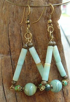Boho Handcrafted Artisan Natural Stone Earrings by bipolarexpress