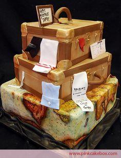 Gateau mariage original voyage valise tour du monde
