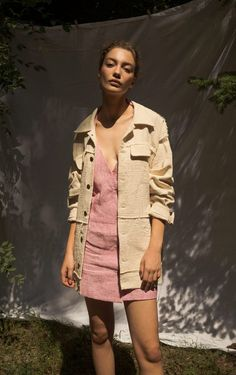 Gnana Studio up-cycled Linen summer jacket features dropped shoulders and decorative sewings R Palette, Summer Jacket, Summer Lookbook, Premium Brands, Metal Buttons, Sweater Jacket, Sustainable Fashion, Shirt Dress, Studio