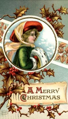 Victorian lady - green coat - gold holly - Merry Christmas