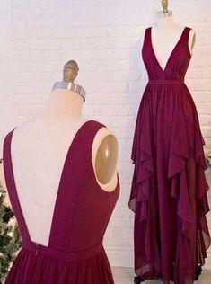 V-neck Long Chiffon Prom Dresses,A line Backless Evening Dresses,Homecoming Dresses