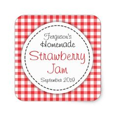 Strawberry jam jar food label square sticker #food #stickers