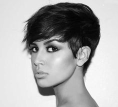 Short Hair | Short Pixie with Swept Bangs #wispy #brunette #pmtschicago