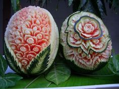 Watermelon Art...Its takes a little practice and a good knife but the results are amazing!
