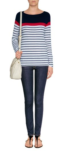 With a bold colorblock and classic nautical stripe, Steffen Schraut's soft pullover is a contemporary take on this trend favorite style #Stylebop