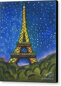 Eiffel Tower Canvas Print featuring the painting Eiffel In Starry Night by Vesna Antic