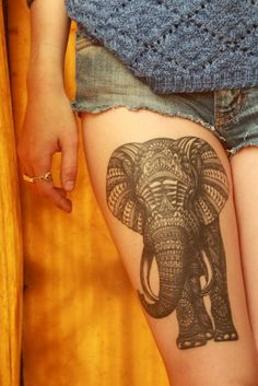 Elephant tattoo. This is amazing, and I'm sure it has meaning.
