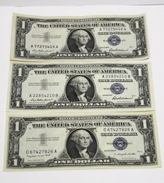 1957-A 1 One Dollar Bill Blue Seal Silver Cert #US #Mint #silver #cert #one #dollar #bill #note #currency #paper #money #Currency #Note