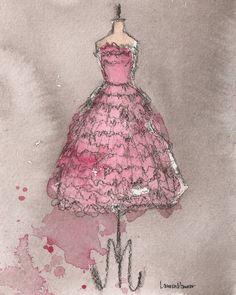 Vintage Pink Ruffle Dress