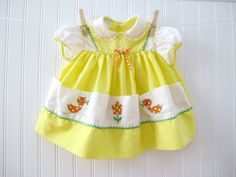Vintage baby dress with ducks, 1970's.