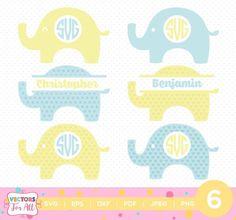 Elephants Monogram SVG, Elephants Monogram Font, SVG Files, Baby Decoration Silhouette Cut Files, Cricut Cut Files by VectorsForAll on Etsy