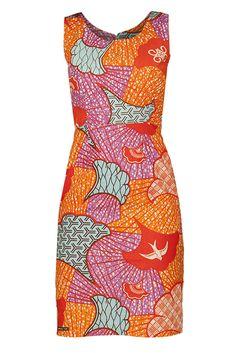 Fans with Adinkra Symbols African Print Pencil Shift Dress - Orange – Sapelle