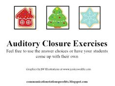 Communication Station: Speech Therapy PLLC: A Perfect Processing Christmas: Auditory Memory Recall! Speech Therapy Activities, Language Activities, Articulation Therapy, Listening Activities, Speech Language Pathology, Speech And Language, Christmas Speech Therapy, Initial Sounds, Auditory Processing
