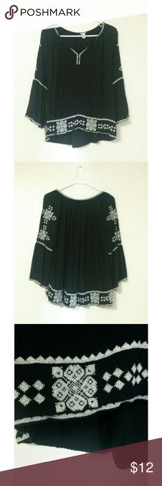 Embroidered Peasant Blouse Black peasant style blouse with grey embroidery on the bottom, sleeves, and around the neckline Forever 21 Tops