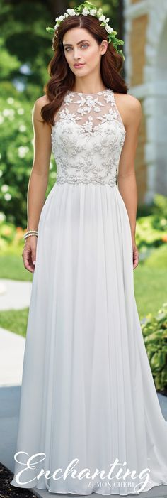 Enchanting by Mon Cheri Spring 2017 Wedding Gown Collection - Style No. 117174 - sleeveless chiffon A-line wedding dress with hand-beaded illusion bodice