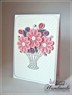Pink and grey - quilling card