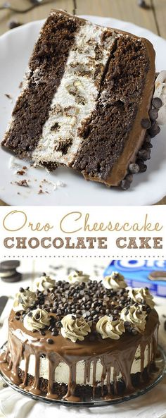 Must make chocolate cake recipe. Oreo cheesecake sandwiched between two layers of soft; rich; fudgy chocolate cake.